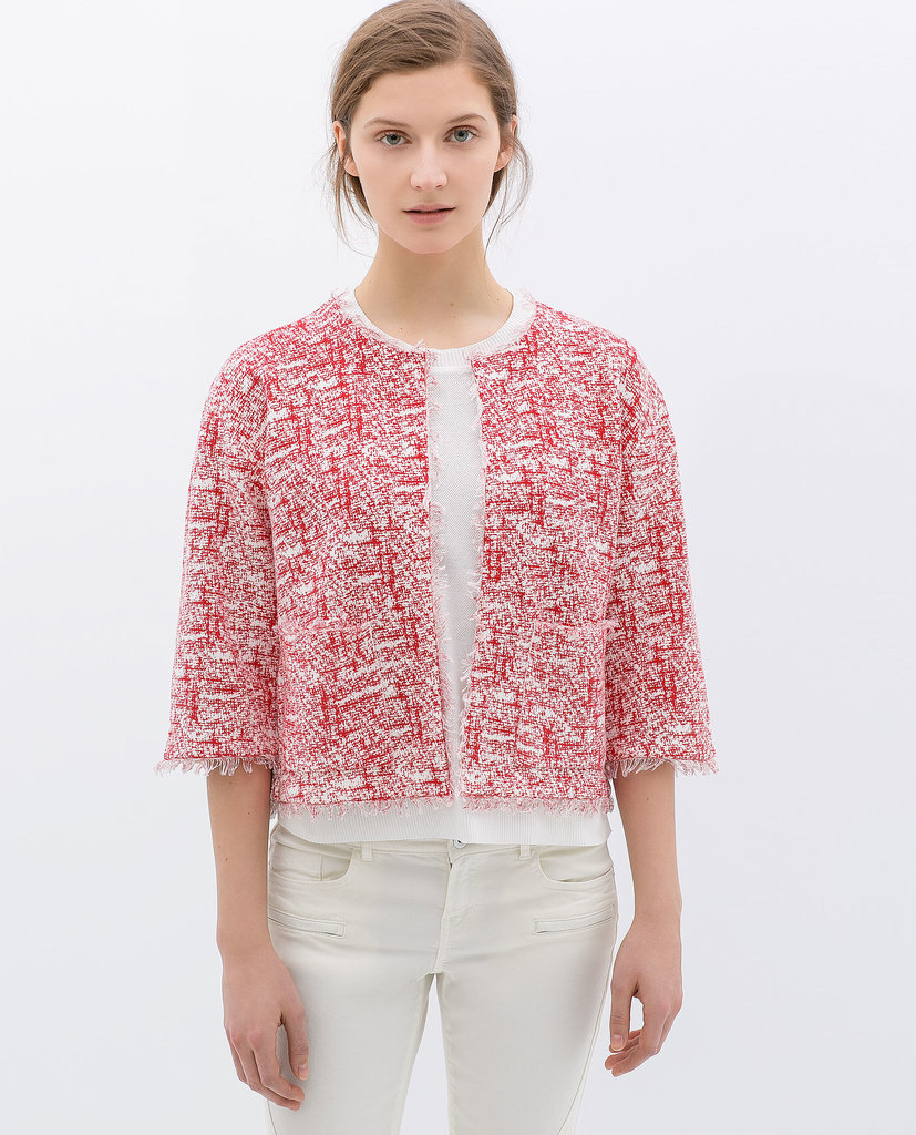 Zara red tweed bracelet-sleeve jacket ($60)