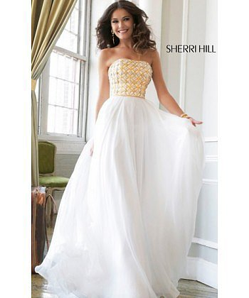 2014 Gold White Sherri Hill 11107 Prom Gown