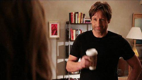 On Californication, Duchovny plays a struggling writer who dabbles too much in sex and drinking.