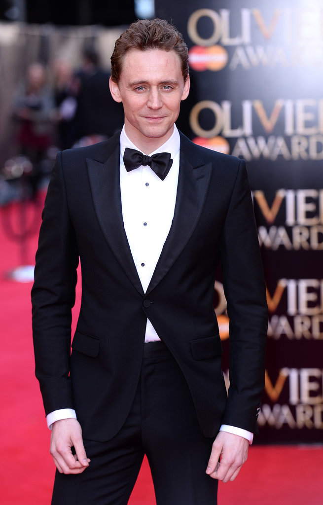 On Sunday, Tom Hiddleston suited up for the Laurence Olivier Awards in London.