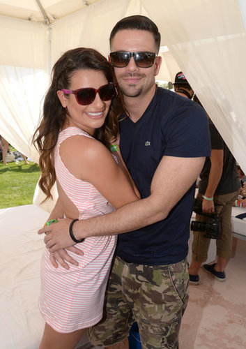 Lea Michele and Glee costar Mark Salling hugged.