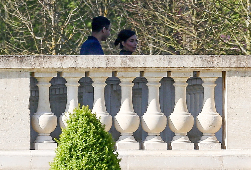 Kim visited Chateau Louis XIV in Louveciennes, France, with Balmain designer Olivier Rousteing.