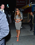 Beyoncé headed out in NYC in a matched striped crop top and skirt set from Topshop.