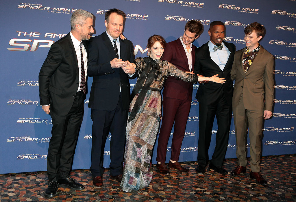 Emma Stone got sill while attending the Rome premiere of The Amazing Spider-Man 2 on Monday.