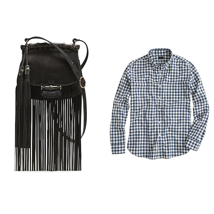 Gucci Nouveau Suede Fringe Shoulder Bag, Black ($1,950), J.Crew Secret Wash Shirt in Faded Gingham ($65) See all the stylish pairings here, or check out more great fashion stories from LifeStyle Mirror:  The Sandals Everyone Will Be Wearing This Spring Spring 2014 Color Trends: Blush Crush Overalls: So Comfortable, but Are They Actually Cute?