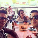 Lea Michele had a hangout session with costars Darren Criss and Chord Overstreet. Source: Instagram user selenagomez