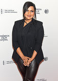 Mindy wore an all-black ensemble.