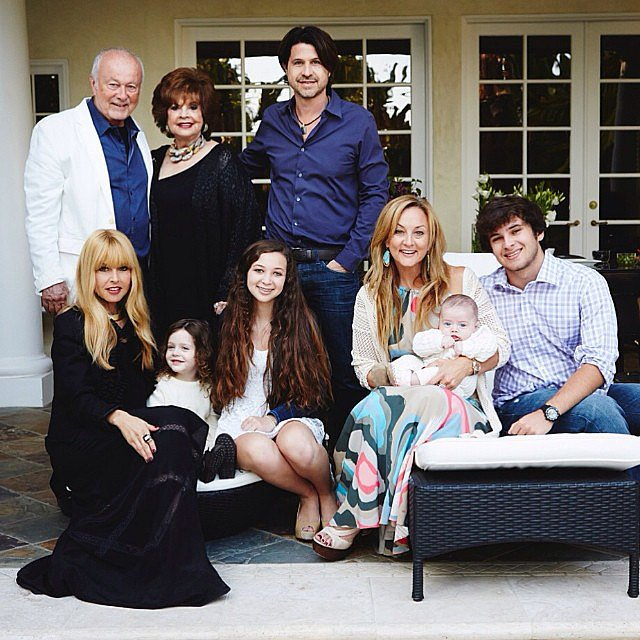 On Saturday, Rachel Zoe wore black in a portrait with her family, including husband Rodger Berman and their sons, Skyler and Kaius. Source: Instagram user rachelzoe
