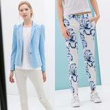 Zara Blue Blazer and Floral Pants
