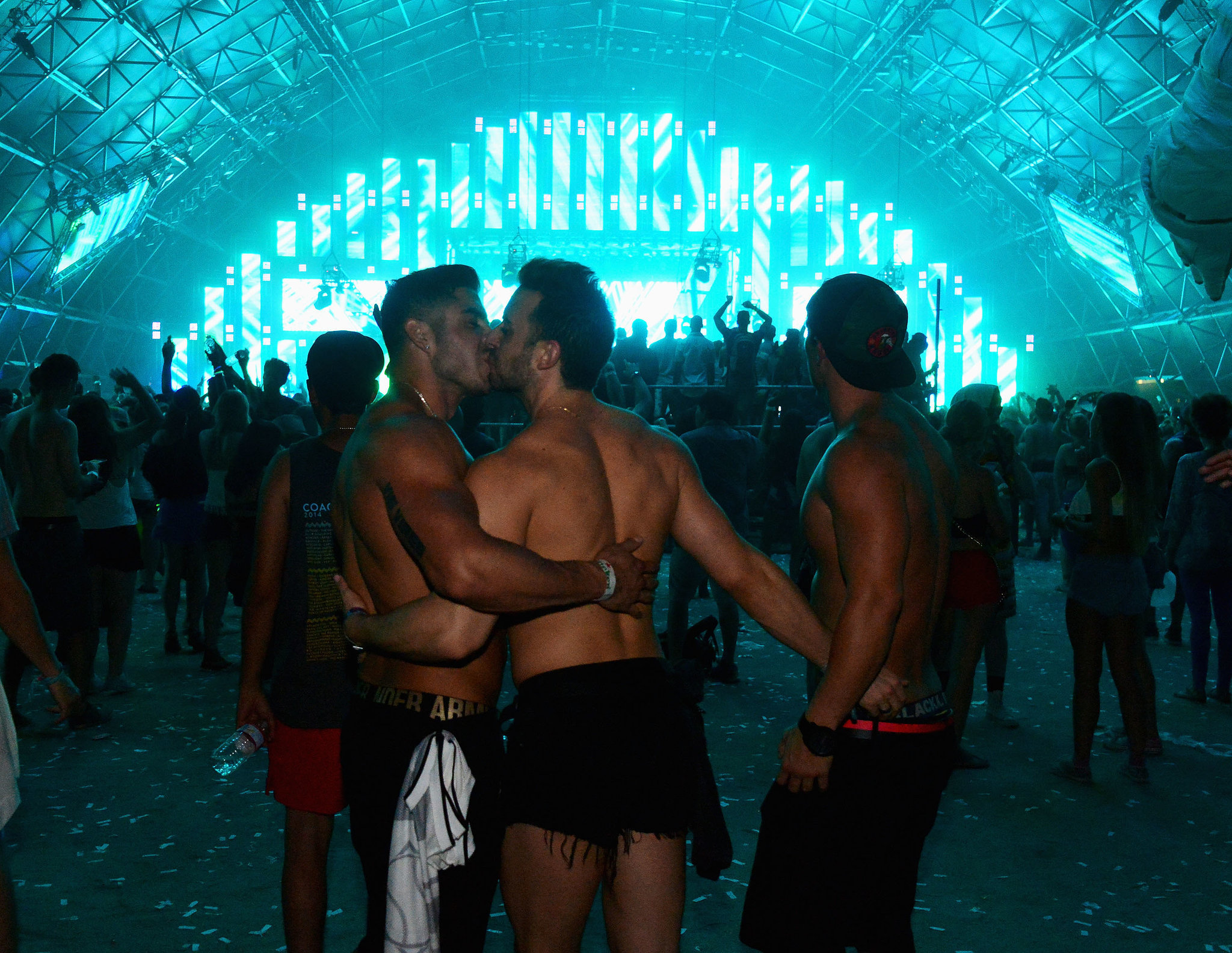 Two guys kissed at Coachella in Indio, CA.
