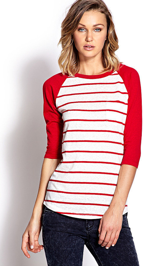 Forever 21 Striped Baseball Tee