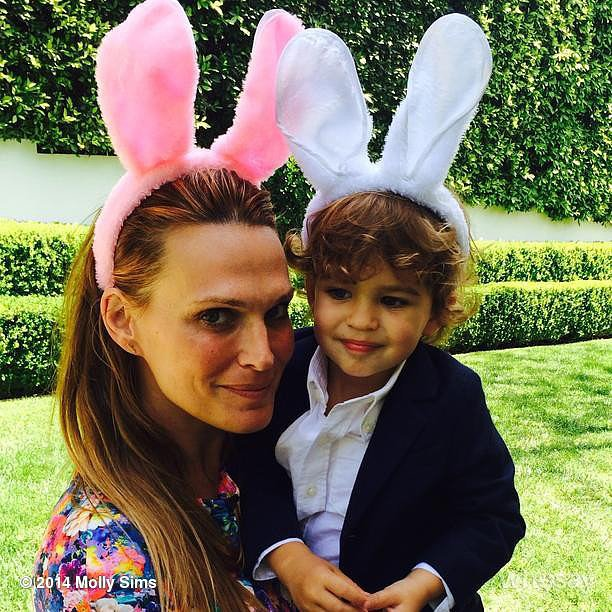 Bunny ears were necessary for Molly Sims and Brooks Stuber's Easter celebration. Source: Instagram user mollybsims