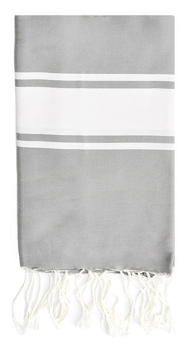 For a unique gift she hasn't likely received, consider this striped towel ($44). It can be used as a beach or bath towel, picnic blanket, tablecloth, wrap, and throw.