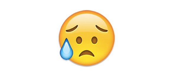 "Interpretation: ""I'm so sad."" Name + meaning: Disappointed but Relieved Face. This Emoji has sweat dripping from its brow, presumably due to a stressful situation. Not to be confused with the Crying Face Emoji, which has a tear on the cheek, instead of a bead of sweat.  Also known as: Eyebrow sweat emoji Source: Emojipedia"
