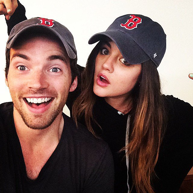 Pretty Little Liars stars Lucy Hale and Ian Harding wore matching Red Sox hats. Source: Instagram user lucyhale