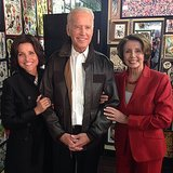 "Julia took a break from filming with her ""costars"": Vice President Joe Biden and House Minority Leader Nancy Pelosi.  Source: Instagram user officialjld"