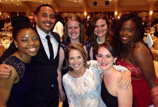 Katie Couric highlighted the importance of the White House Correspondents' Dinner in a group photo she took with the organization's scholarship recipients.  Source: Twitter user katiecouric