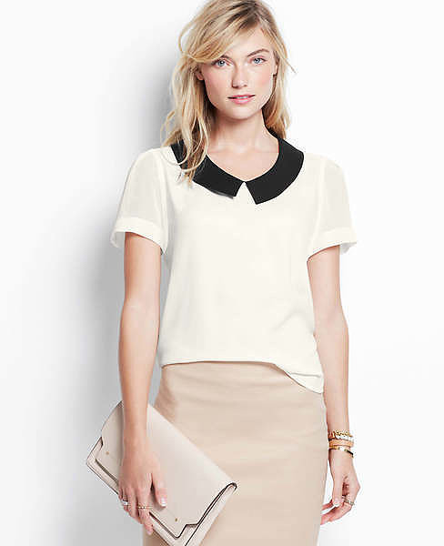 Ann Taylor Collared Short-Sleeve Top
