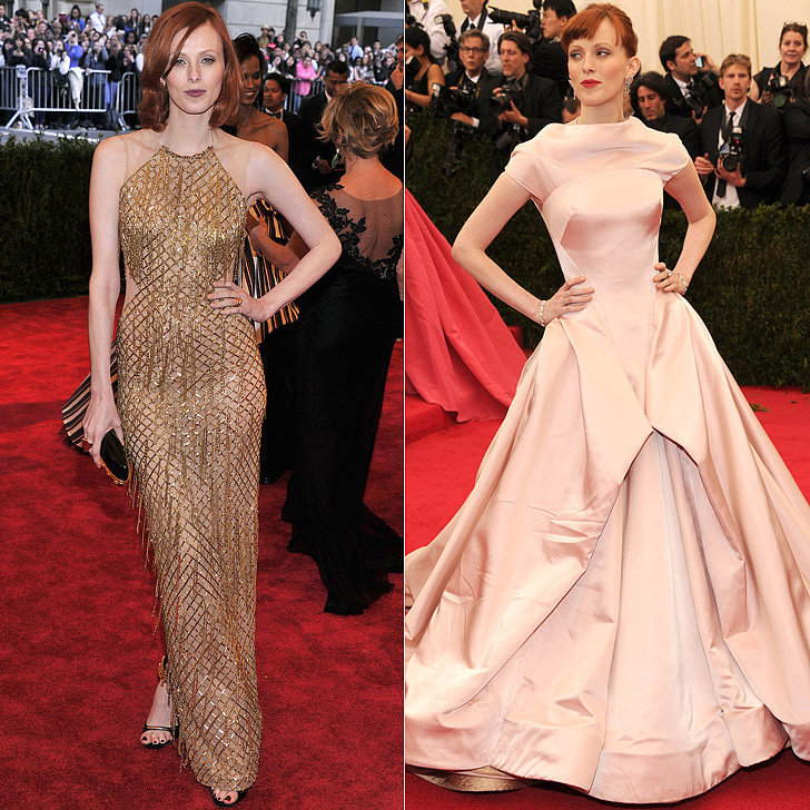 Karen Elson at the 2013 and 2014 Met Galas