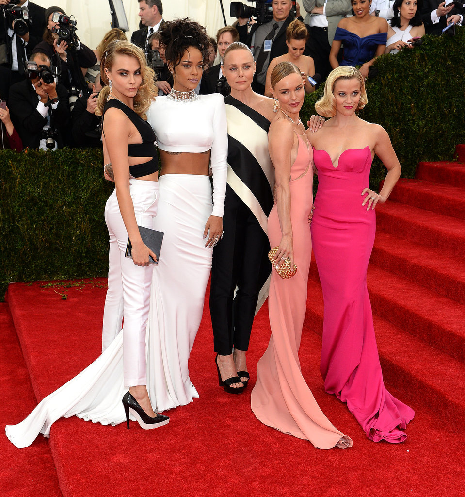 Cara Delevingne, Rihanna, Kate Bosworth, and Reese Witherspoon surrounded designer Stella McCartney in ensembles of her design.