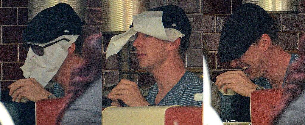 Benedict Does His Best Mr. Napkin Head at Lunch With Dakota Johnson