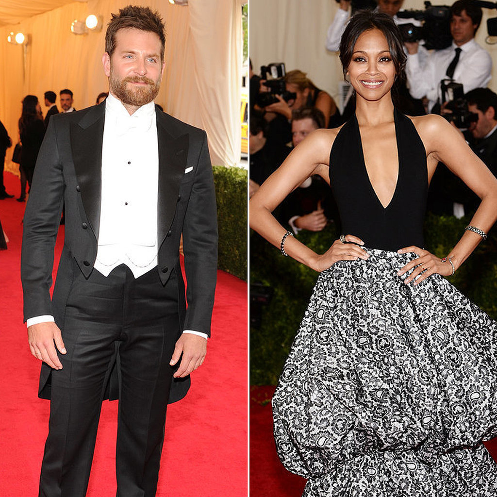 Bradley Cooper and Zoe Saldana dated on and off for about a year back in 2012, and both actors have since moved on to new relationships — Bradley has been dating Suki Waterhouse since Spring 2013, and Zoe married Italian artist Marco Perego that Summer. No word on whether they spoke at the Met Gala, but they do look kind of cute in those matching black and white outfits, right?