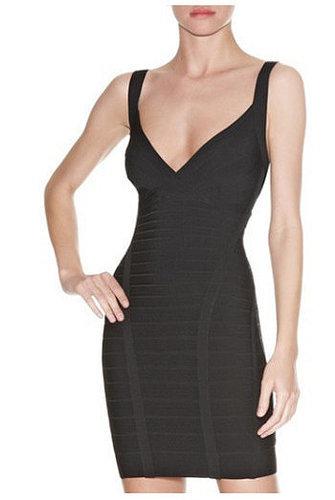 Black Open Back Bandage Dress