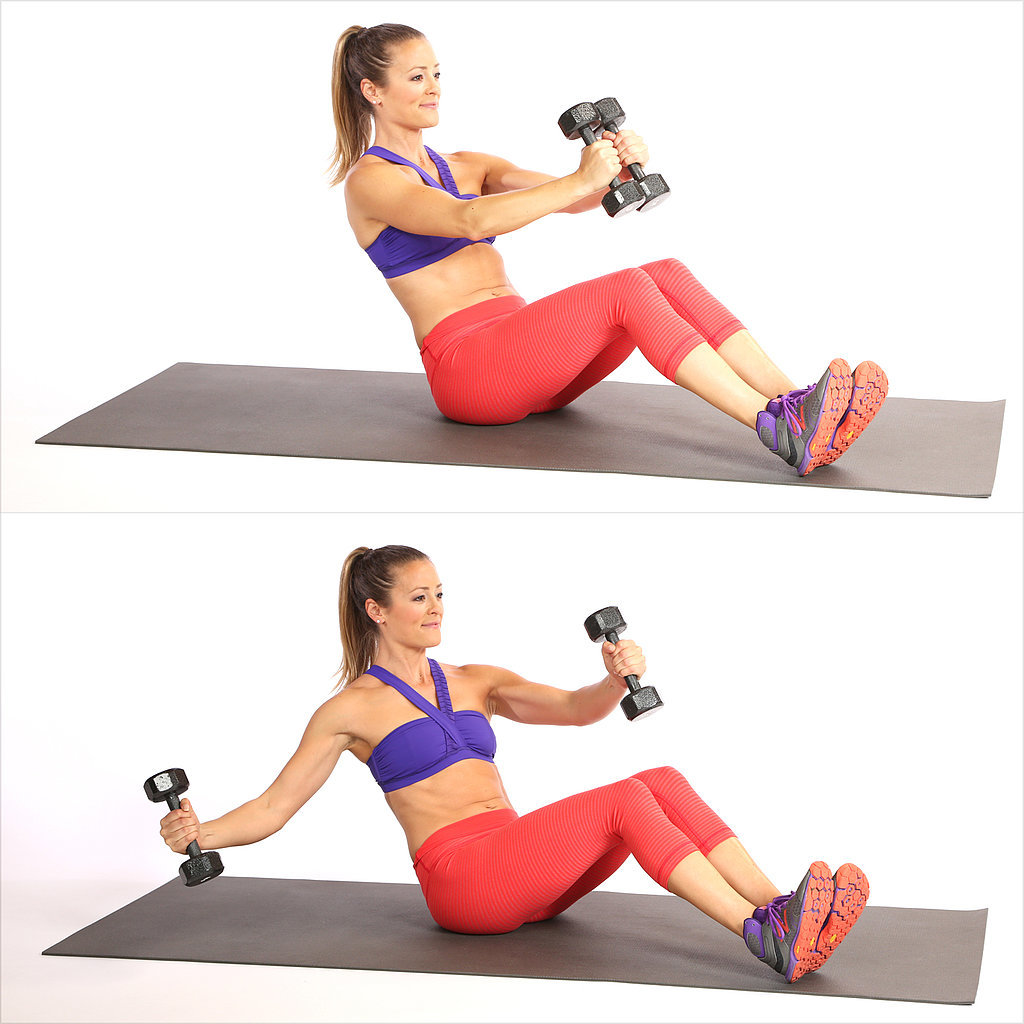 V-Sit With Single Arm Chest Fly
