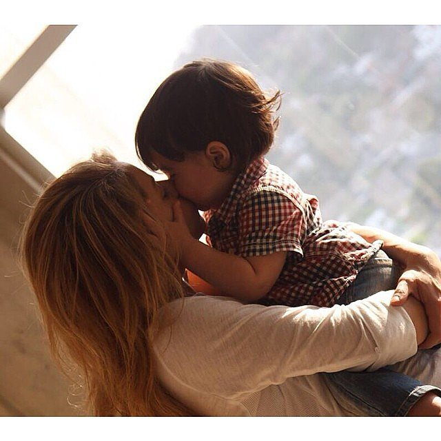 Shakira shared a kiss with little Milan on Mother's Day. Source: Instagram user shakira