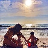 Gisele Bündchen spent the day hanging out with kids Vivian and Benjamin Brady on the beach.  Source: Instagram user giseleofficial
