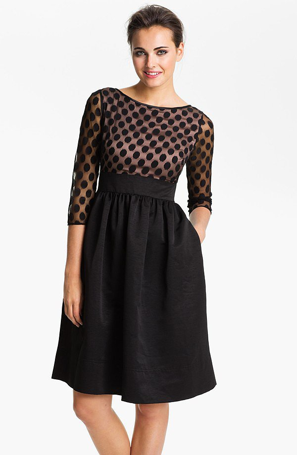 Sheer Polka-Dot Sleeves LBD