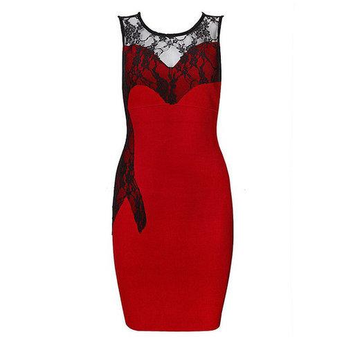 Red Lace Sleeveless Bandage Dress