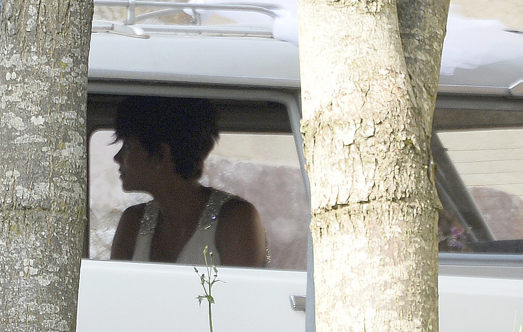 Halle was spotted wearing a white gown with bejeweled straps when she arrived at the Chateau des Condé in a vintage white car.