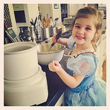 Harper Smith mixed up some homemade ice cream (in a princess costume) to beat the May heat. Source: Instagram user tathiessen