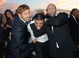 Kellan Lutz and Jason Statham got playful with Victor Ortiz on Sunday.