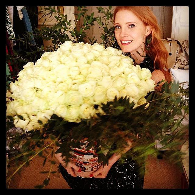 Jessica Chastain was showered with white roses. Source: Facebook user jessicachastain