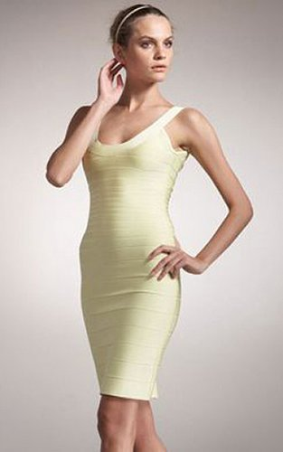 Herve Leger Basic Bandage Pale Yellow Scoop Neck Dress