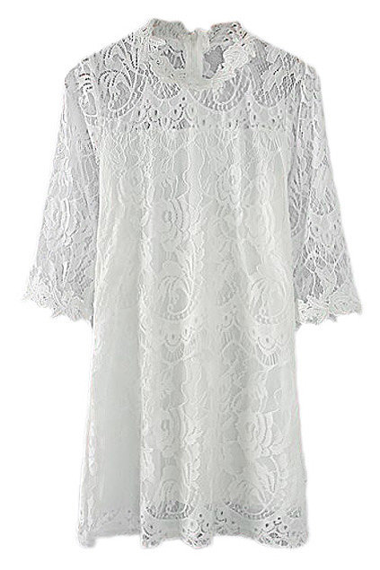 Romwe White Lace Dress