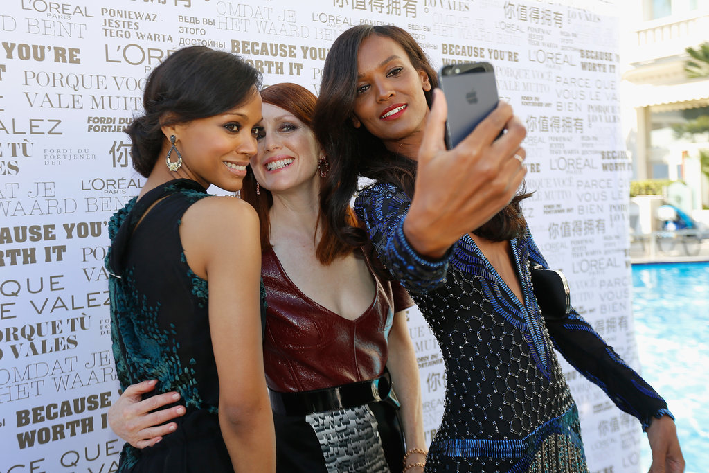 Zoe Saldana got together with Julianne Moore and Liya Kebede for a selfie at the Mr. Turner premiere.