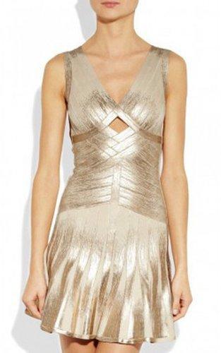 Herve Leger Gold Shimmery Flared V-neck Cutout Bandage DressOutlet