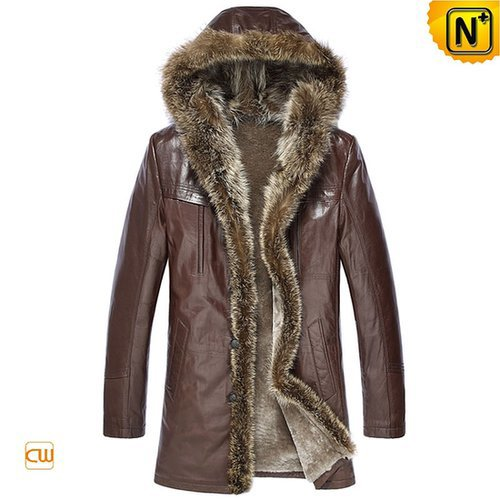 Brown Shearling Fur Coat for Men CW877160