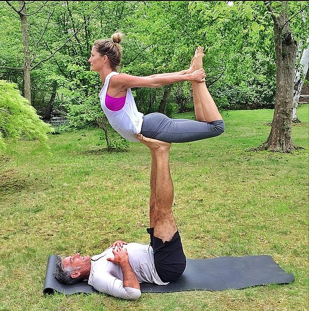 If you need yoga inspiration, Gisele Bündchen's Instagram account is just the place. Here she practices her balance with a little acroyoga. Source: Instagram user giseleofficial