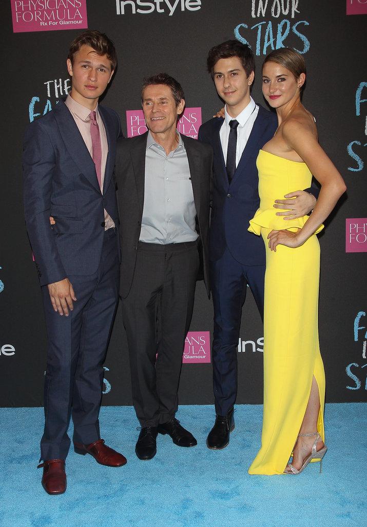 Ansel Elgort, Willem Dafoe, Nat Wolff e Shailene Woodley ontem em Nova York