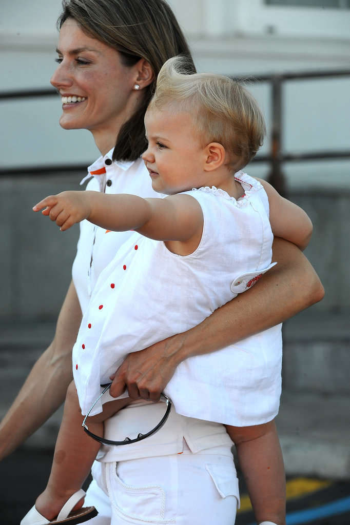 In July 2008, Princess Letizia toted her little one, Princess Sofía, around Palma de Mallorca, Spain during a sailing cup.