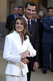Princess Letizia showed off her engagement ring alongside Prince Felipe in November 2003.