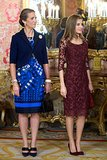 Princess Letizia of Spain stood alongside Princess Elena for Spain's National Day Royal Reception in October 2013.