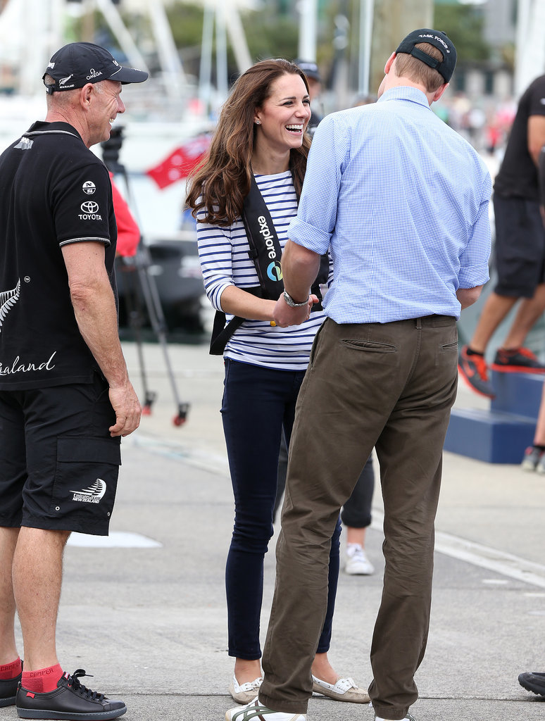 The duchess laughed with the duke after she beat him (twice!) during a boat race in New Zealand in April 2014.