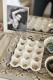While we love farm-fresh eggs, we're sold on the clever idea of using ceramic egg racks ($14, originally $21) for organizing rings and earrings. Source: Kelsey Foster via Style Me Pretty