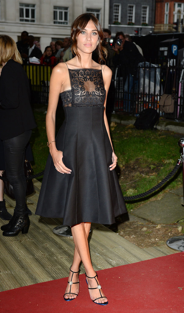 Alexa Chung went for a black frock.