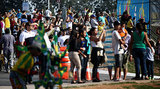 Fans made their way to Itaquerao Stadium to catch a glimpse of the opening ceremony rehearsals for the World Cup.